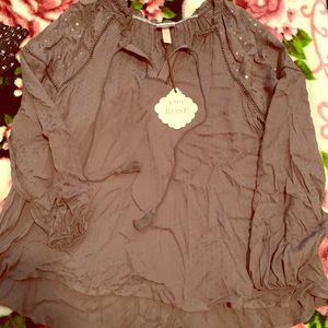 Forest green/brown blouse